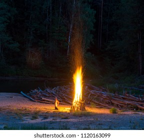 Ligo bonfire. Latvia, Gauja river beach.  Midsummer.  .