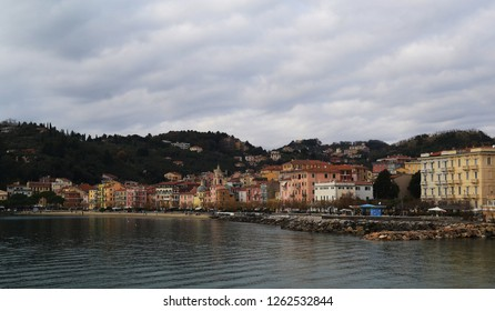 Liguria,Italy, Liguria, Italy, landscape of the San Terenzo city and the front bay on a grey winter day