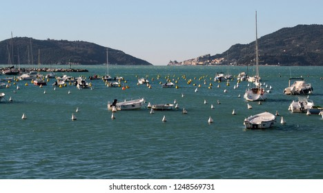 LIguria,Italy, seascape of Lerici port with Palmaria island and Portovenere in the background on a sunny winter day