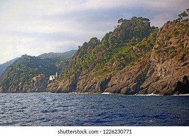 Ligurian coast, Italy -  view of  St.George fort and St.George church of Portofino from the Ligurian sea