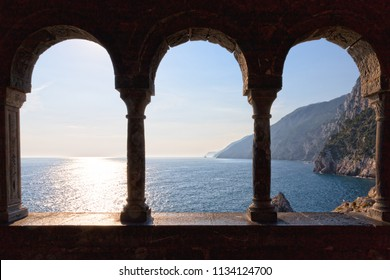 Ligurian coast seen from the arcade of the church of San Pietro in Porto Venere
