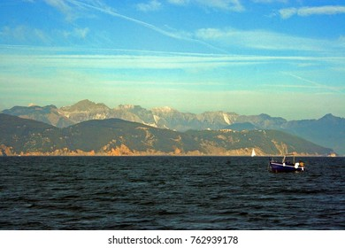 The Ligurian coastline seen from the boat