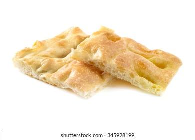 Ligurian focaccia bread on a white background