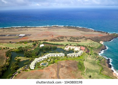 LIHUE, HAWAII, USA - JULY 31, 2016: Aerial view of the Kauai Marriot Resort and the airport of Lihue, Kauai, Hawaii, USA.