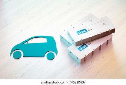 Li-Ion electric vehicle battery concept. Car symbol with EV batteries on wooden desk. 3d rendering.
