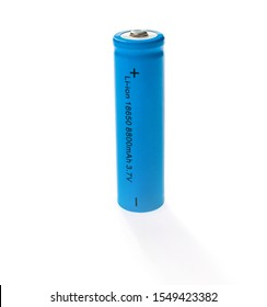 Li-ion power source. Recharge battery 3.7 V type 18650 isolate on white background