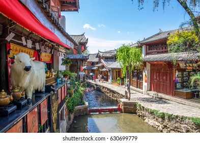 Lijiang, China - April 10,2017 : Scenic view of the Old Town of Lijiang in Yunnan, China. The Old Town of Lijiang is a UNESCO World Heritage Site and also a famous tourist destination of Asia.