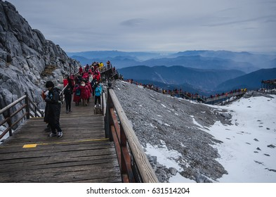 LIJIANG, CHINA - JAN 3: Jade Dragon Snow Mountain is the mountain, snow, ice that is located in the Lijiang city of which is the most popular place to the tourism, on Jan 3, 2017