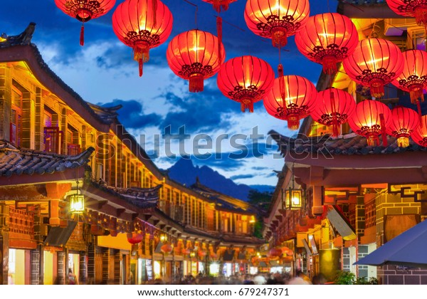 Lijiang old town in the evening with crowed tourist , Yunnan China.