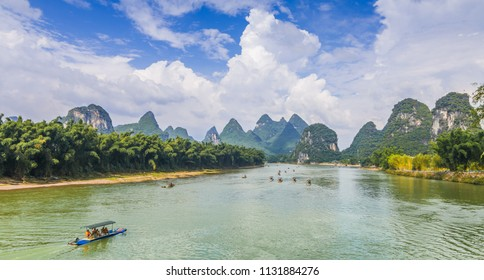 Lijiang river and Karst mountain landscape in Yangshuo Guilin, China