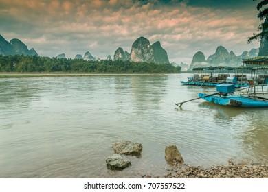 Lijiang river and Karst mountain landscape in Yangshuo Guilin, China