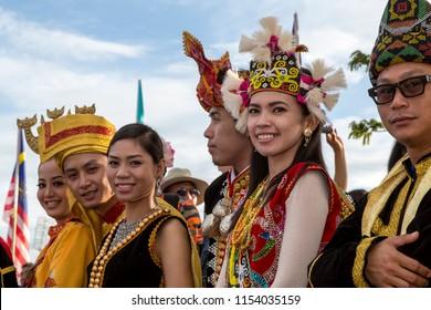 Likas, Kota Kinabalu, Sabah, Malaysia - August 31 2013:  Welcoming contingent of different tribes at Hari Merdeka 2013