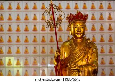 Likas, Kota Kinabalu, Sabah, Malaysia - February 6 2013: Close-up of monk statuesin Pu Tuo Si Buddhist Temple, also known as Pu Toh Temple