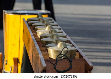 Likas, Kota Kinabalu, Sabah, Malaysia - August 31 2013: Instruments of a Traditional Gong Orchestra of the Dusun community on occassion of the 50th anniversary of Hari Merdeka (Independence Day).