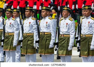 Likas, Kota Kinabalu, Sabah, Malaysia - August 31 2013:  Guard of Honour of the Royal Malay Regiment at the opening celebrations of the 50th anniversary of Hari Merdeka.
