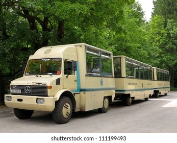 LIKA-SENJ, CROATIA-MAY 21:Bus tour is ready to start at Plitvice National Park on May 21,2012 in Lika-Senj. Bus tours run regularly everyday. This bus is specially designed for touring in a forest.