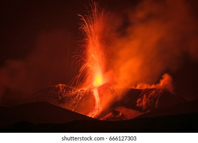 Like an apocalypse on Earth, the eruptive activity of the volcano Etna started to become more and more intense.