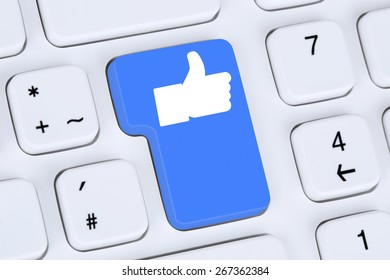 Like button icon symbol thumb up social media or network on internet computer keyboard