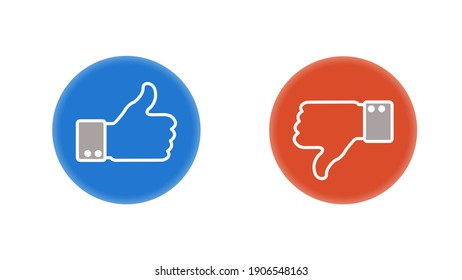 Like icon. Hand like. Thumb up. Dislike icon. Thumb down. Social media. OK sign. Like symbol. Achievement badge. Quality mark. - Shutterstock ID 1906548163