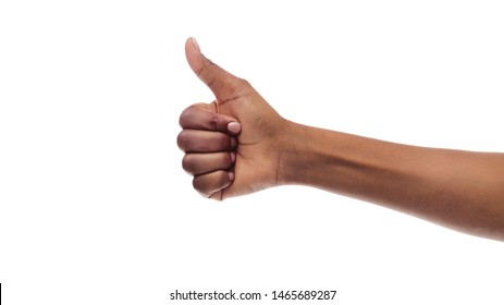 I Like it. Afro Girl's Hand Gesturing Thumb Up Isolated On White. Panorama With Free Space