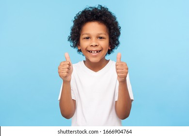 Like! Portrait of happy little boy with curly hair in white T-shirt smiling at camera and doing thumbs up gesture, showing agree cool approval sign. indoor studio shot isolated on blue background