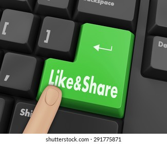 like and share button