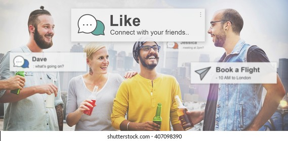 Like Share Social Media News Feed Concept