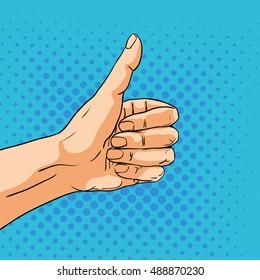 Like sign gesture. Hand in pop art comic style