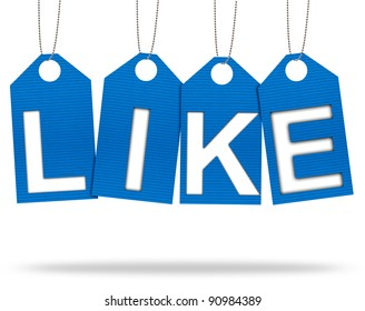 Like Tags Corrugated paper craft on white background