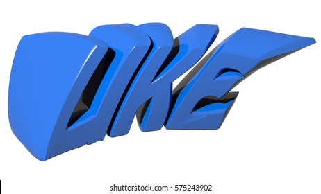 LIKE written with blue 3D letters on white background - 3D rendering