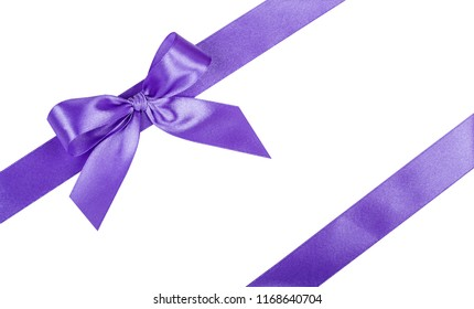 Lilac bow, ribbon. Isolated on white background.