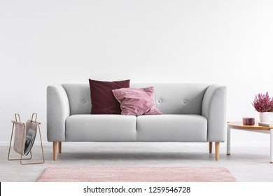 Lilac and burgundy pillows on grey settee in bright living room with heather on coffee table and copy space on the empty white wall