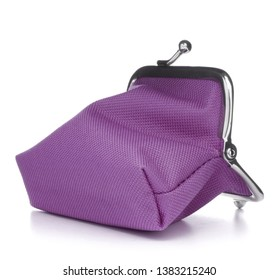 lilac cash wallet isolated on white background. Charge purse. Open empty coin wallet.