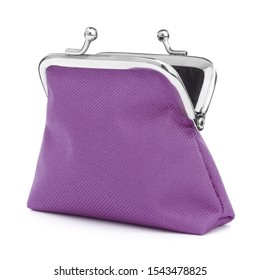lilac cash wallet isolated over white background. Charge purse. Open empty coin wallet..