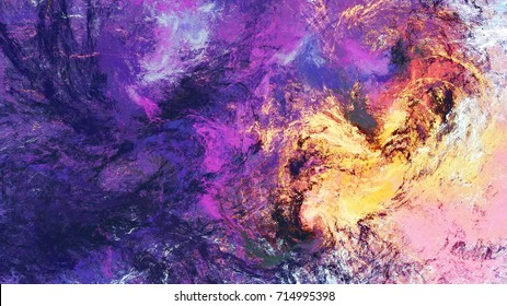 Lilac clouds. Bright artistic splashes. Abstract beautiful purple color painting texture. Modern futuristic background.  Fractal artwork for creative graphic design.