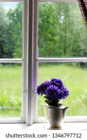 A lilac flower bouquet in the window of an old summer cottage with a view over a overgrown garden. Summer vacation.