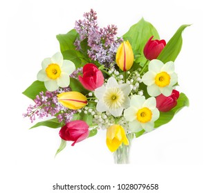 Lilac flowers bunch with tulips and narcissus isolated on white background