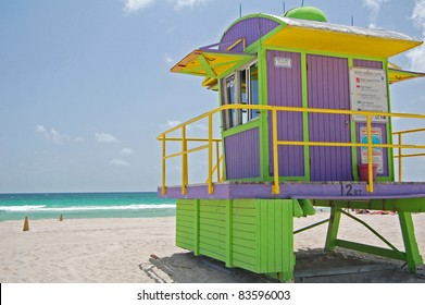 lilac and green life guard tower on South Beach, Miami, Florida