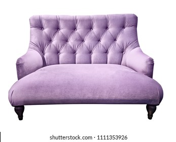 Lilac sofa. Soft purple couch. Isolated background. Velour setee or bench. Couch-type screed love seat with capitone pattern back