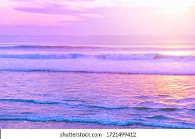 Lilac sunset over the seascape. Endless ocean. Blurred inspirational calm sea with sunset sky. Photo with soft focus. Bali, Indonesia.