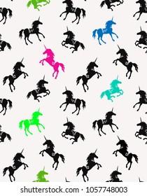Lilac unicorn.  silhouettes seamless pattern. Mythology creature design