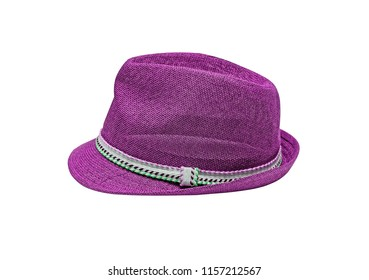 Lilac vintage straw children hat fasion. Isolated on white.