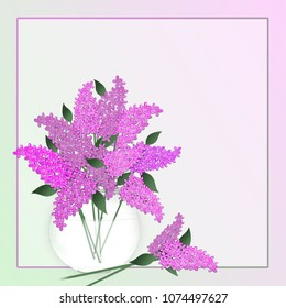 Lilacs in a vase within a gradient border background.