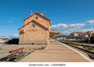 L'ILE-ROUSSE, HAUTE- CORSE/FRANCE - OCTOBER 31, 2018: Railway station in a popular tourist village