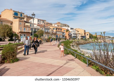 L'ILE-ROUSSE, HAUTE- CORSE/FRANCE - OCTOBER 31, 2018: City embankment next to the old railway in autumn