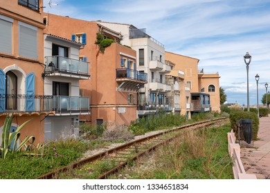 L'ILE-ROUSSE, HAUTE- CORSE/FRANCE - OCTOBER 31, 2018:  Old railway next to the city embankment