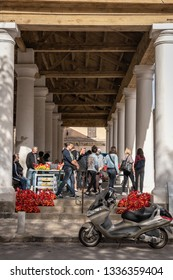L'ILE-ROUSSE, HAUTE- CORSE/FRANCE - OCTOBER 31, 2018: An ordinary day in the central market