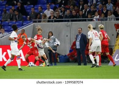 Liliana Kostova to Medyk Eugenie Le Sommer to OL during UEFA Women's Champions League round of 32 football Olympique Lyonnais vs Medyk Konin 10,11,2017 Lyon stadium Decines Lyon France