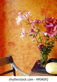 Lilies and Chair Country Decor