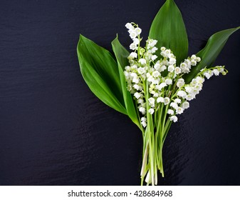 lilies of the valley on chalkboard